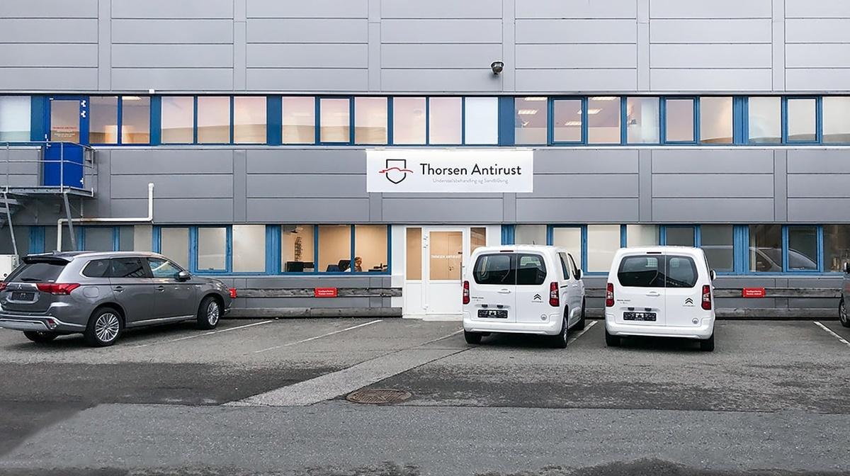 Fasade Thorsen Antirust på Nyborg i Åsane
